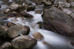Milky flow effect of river Stream. Long Exposure shot of flowing river Stream in Jibhi, Banjar Valley in Himachal Pradesh, India royalty free stock photography