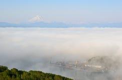 Milky fog in the port of Petropavlovsk Stock Photo