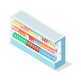 Milky Food in Groceries Showcase Isometric Vector Royalty Free Stock Photography