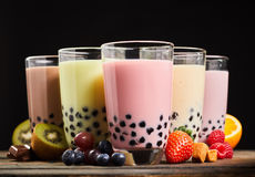 Milky fruit flavored bubble tea Royalty Free Stock Images