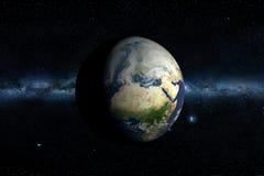 milky planet för jord långt royaltyfri illustrationer