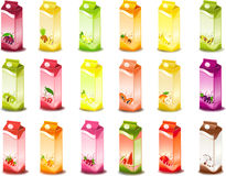 Milky products with fruit. Set of packing milky products with fruit Stock Photography