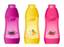 Milky products with fruit. Set of design of bottle milky products with fruit Stock Images