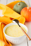 Milky Pumpkin Soup, copy space for your text Royalty Free Stock Photography
