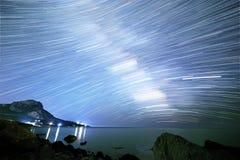 Milky sposób Gwiazdy w postaci linii Południowy Crimea Od czasu L Zdjęcia Royalty Free