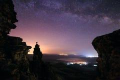 Milky sposób i photografer Obrazy Stock