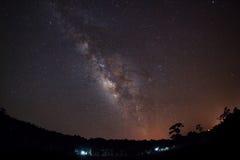 Milky sposób i sylwetka drzewo, Długa ujawnienie fotografia, z Zdjęcia Royalty Free