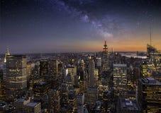 Milky sposób nad Manhattan Obrazy Royalty Free