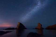 Milky sposób nad morzem, Sinemorets, Bułgaria Zdjęcia Royalty Free