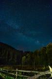 Milky sposób nad ukraińskim lasem Fotografia Stock