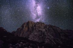 Milky sposób nad Velebit górami Obraz Royalty Free