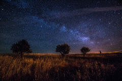 Milky sposób przy Ciemnym niebem Alqueva Obraz Stock