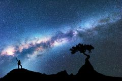 Milky sposób, sylwetka kobieta i drzewo, przestrzeń zdjęcia stock