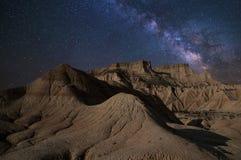 Milky sposobu pustynia przy nocą obrazy royalty free