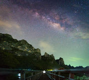 Milky walkway. Milky way above Sam Roi Yod mountain, Thailand Royalty Free Stock Photography