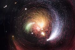 The Milky Way. It took a picture of fireworks like the Milky Way royalty free stock photography