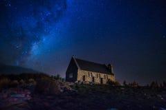 Milky way above Church of the Good Shepherd. At Lake Tekapo New Zealand South Island royalty free stock photos