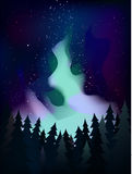 The Milky Way above the forest at night vector Stock Image