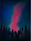The Milky Way above the forest at night vector. Forest under the night sky with stars vector Milky Way Stock Image