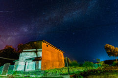 Milky Way above a house Royalty Free Stock Photography