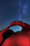 Milky way above Mobius Arch, California, USA.. Royalty Free Stock Photography