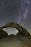 Milky way above Mobius Arch, California, USA.. Stock Image