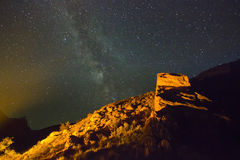 Milky way above the mountains with hill highlighted Royalty Free Stock Photos
