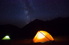 Milky way above the mountains with tent Royalty Free Stock Photography