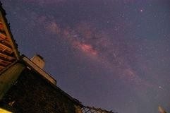 Milky way above old building in Kudus City, Central Java, Indonesia Stock Photo