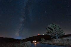 Milky Way above a road through Crimea. Milky Way and treet above a road through Crimea Royalty Free Stock Photos