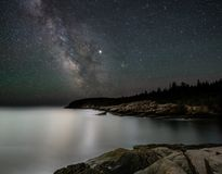Milky way in Acadia National Park. In Maine with a Coastline royalty free stock photos