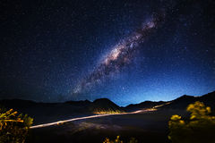 Milky way across Mt.Bromo,East Java,Indonesia Royalty Free Stock Image