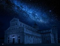 Milky way and ancient monuments in Pisa at night, Italy Royalty Free Stock Photos