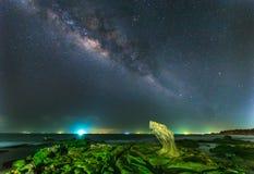 Milky way in ancient stone park, Binh Thuan, Vietnam Stock Photos