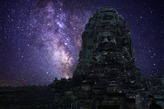 Milky way in angkor wat. Cambodia Royalty Free Stock Images
