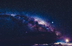 Milky Way in Antarctica. Long exposure astronomical photograph of the nebula Cygnus is taken in the middle of the night in Antarctica, Ukrainian research base Royalty Free Stock Photo