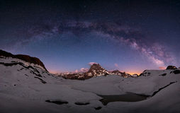 Milky way arc. Arc of the milky way over mount Midi, Pirenees, France Royalty Free Stock Photos