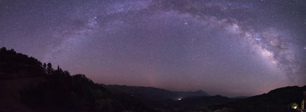 The Milky Way arch bridge. In the early summer night Stock Image