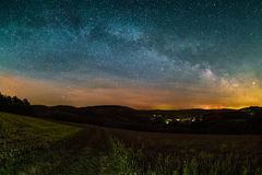 Milky Way. Astro Landscape with the Milky Way as seen from the Odenwald between Lampenhain and Vorderheubach near Heiligkreuzsteinach in Germany Stock Photography