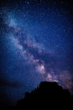 Milky Way. In the background of hills and trees Stock Photo