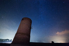 Milky Way in the background of old tower Stock Photos