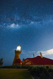 Milky way on the Barrenjoey Lighthouse at Palm Beach Sydney Australia. NOV 11.2016 Barrenjoey Lighthouse stands at Barrenjoey Head at Palm Beach on Sydney`s Royalty Free Stock Photo