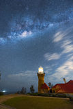 Milky way on the Barrenjoey Lighthouse at Palm Beach Sydney Australia. NOV 11.2016 Barrenjoey Lighthouse stands at Barrenjoey Head at Palm Beach on Sydney`s royalty free stock photography