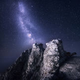 Milky Way. Beautiful night landscape with rocks and starry sky Royalty Free Stock Photography