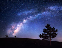 Milky Way. Beautiful night landscape. Sky with stars. Background Royalty Free Stock Photography