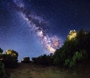 Milky Way. Beautiful summer night. In Crimea Stock Photos