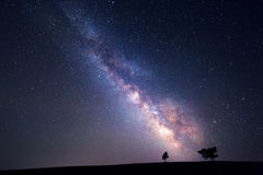 Milky Way. Beautiful summer night sky with stars. Background Royalty Free Stock Photography