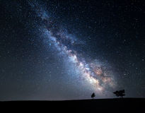 Milky Way. Beautiful summer night sky with stars in Crimea Stock Photos