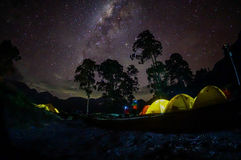 Milky way on camp site Royalty Free Stock Photo