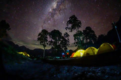 Milky way on camp site Stock Images